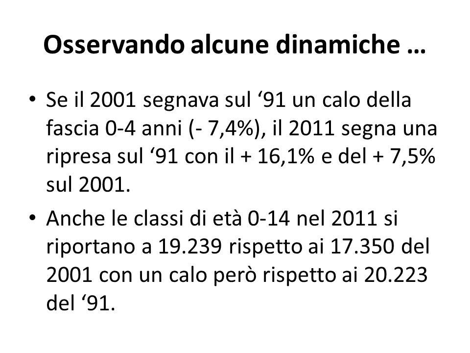 Osservando alcune dinamiche … Se il 2001 segnava sul 91 un calo della fascia 0-4 anni (- 7,4%), il 2011 segna una ripresa sul 91 con il + 16,1% e del + 7,5% sul 2001.