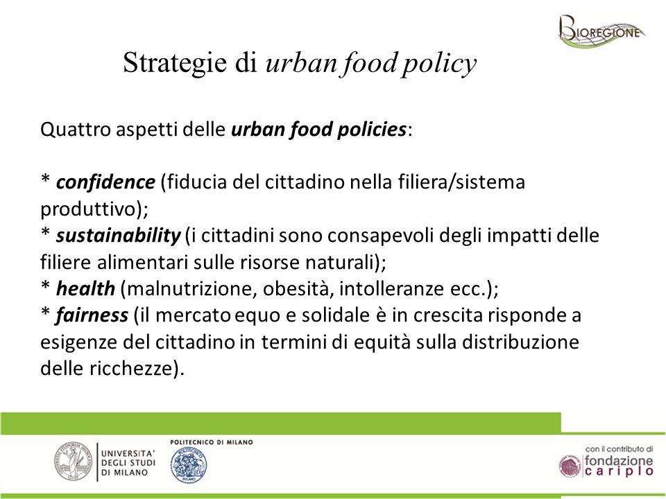 Quattro aspetti delle urban food policies: * confidence (fiducia del cittadino nella filiera/sistema produttivo); * sustainability (i cittadini sono c