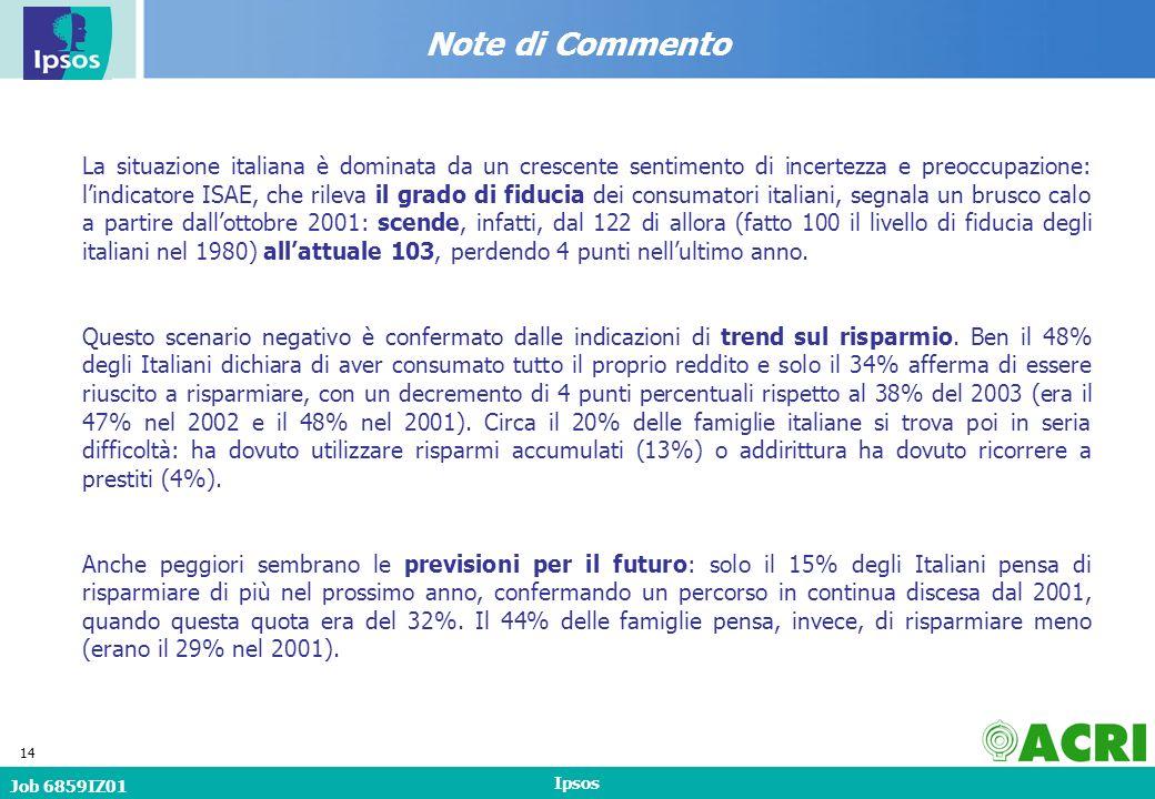 Job 6859IZ01 Ipsos 14 Note di Commento La situazione italiana è dominata da un crescente sentimento di incertezza e preoccupazione: lindicatore ISAE, che rileva il grado di fiducia dei consumatori italiani, segnala un brusco calo a partire dallottobre 2001: scende, infatti, dal 122 di allora (fatto 100 il livello di fiducia degli italiani nel 1980) allattuale 103, perdendo 4 punti nellultimo anno.