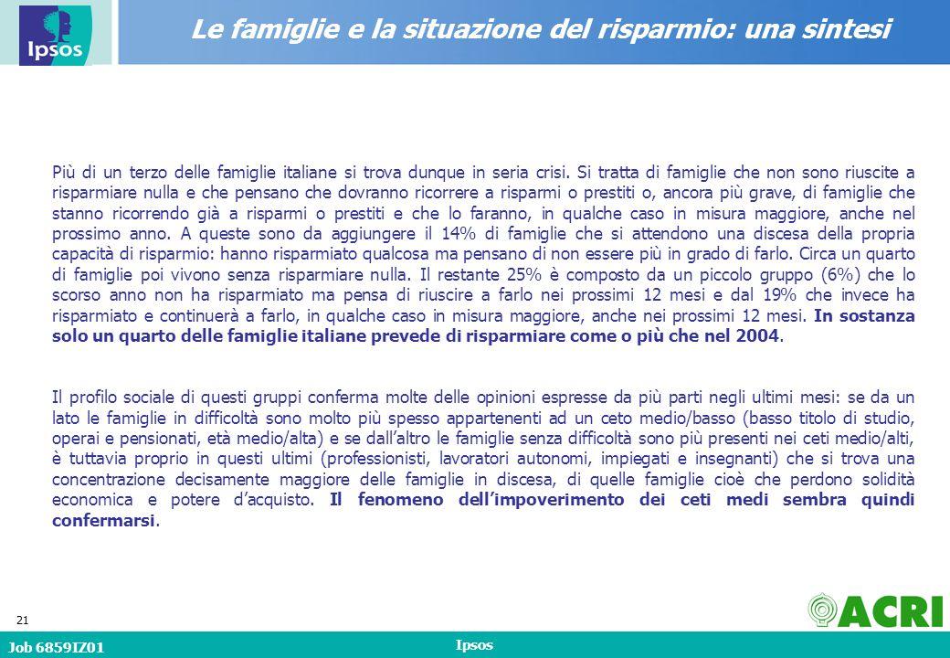 Job 6859IZ01 Ipsos 21 Più di un terzo delle famiglie italiane si trova dunque in seria crisi.