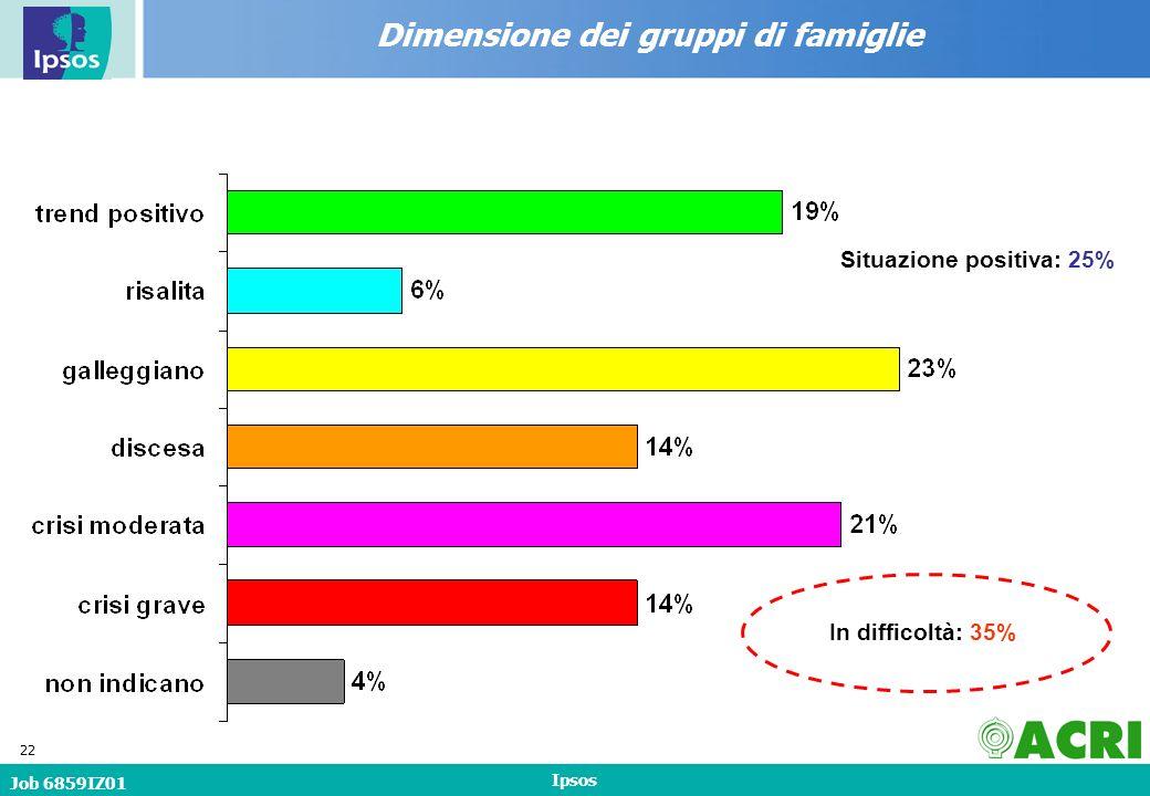 Job 6859IZ01 Ipsos 22 Dimensione dei gruppi di famiglie In difficoltà: 35% Situazione positiva: 25%