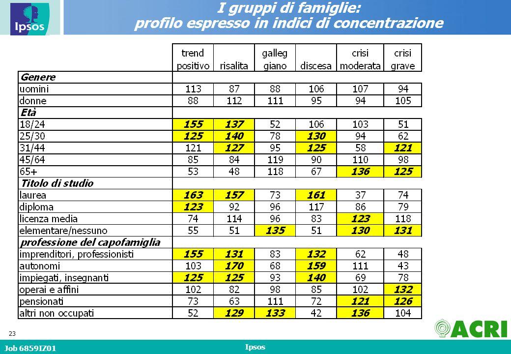 Job 6859IZ01 Ipsos 23 I gruppi di famiglie: profilo espresso in indici di concentrazione