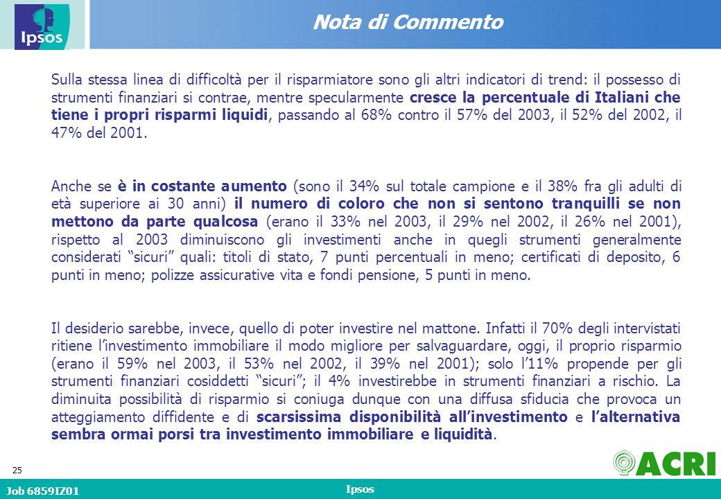 Job 6859IZ01 Ipsos 25 Nota di Commento Sulla stessa linea di difficoltà per il risparmiatore sono gli altri indicatori di trend: il possesso di strumenti finanziari si contrae, mentre specularmente cresce la percentuale di Italiani che tiene i propri risparmi liquidi, passando al 68% contro il 57% del 2003, il 52% del 2002, il 47% del 2001.