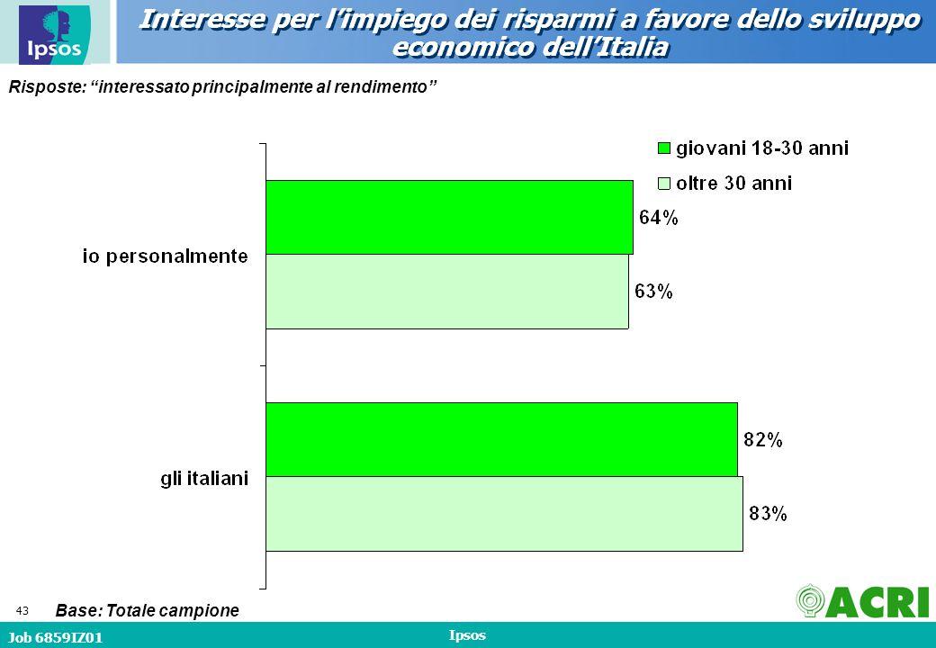 Job 6859IZ01 Ipsos 43 Interesse per limpiego dei risparmi a favore dello sviluppo economico dellItalia Risposte: interessato principalmente al rendimento Base: Totale campione