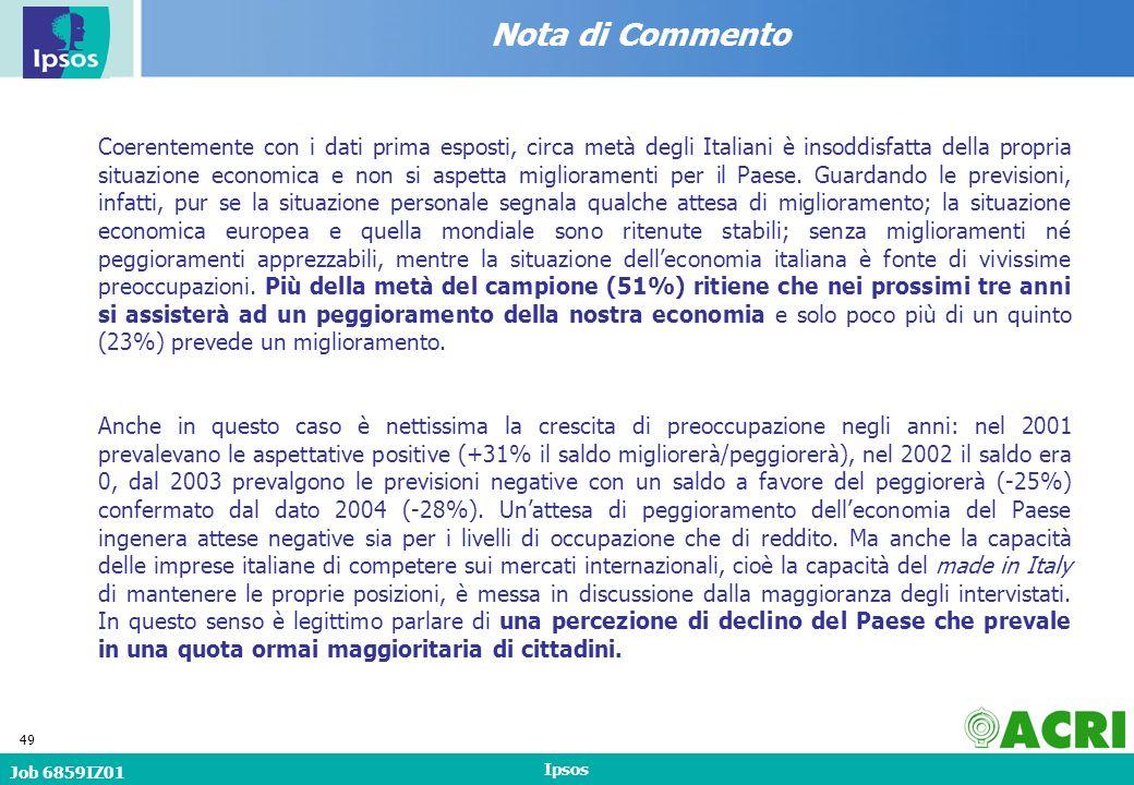 Job 6859IZ01 Ipsos 49 Nota di Commento Coerentemente con i dati prima esposti, circa metà degli Italiani è insoddisfatta della propria situazione economica e non si aspetta miglioramenti per il Paese.