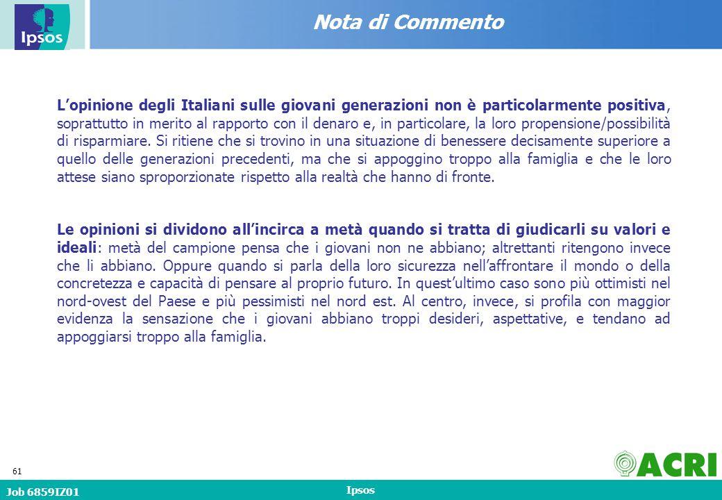 Job 6859IZ01 Ipsos 61 Nota di Commento Lopinione degli Italiani sulle giovani generazioni non è particolarmente positiva, soprattutto in merito al rapporto con il denaro e, in particolare, la loro propensione/possibilità di risparmiare.