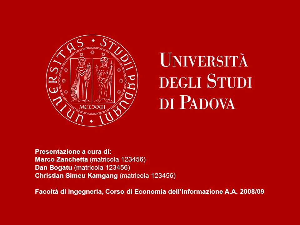 Presentazione a cura di: Marco Zanchetta (matricola 123456) Dan Bogatu (matricola 123456) Christian Simeu Kamgang (matricola 123456) Facoltà di Ingegneria, Corso di Economia dellInformazione A.A.