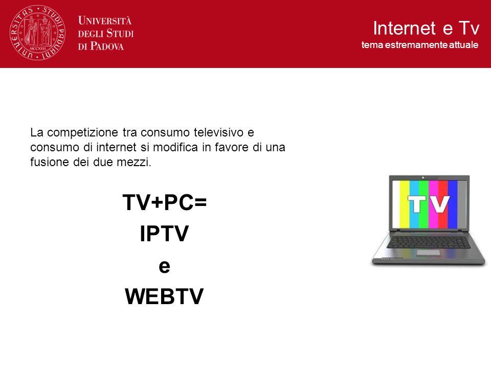 La competizione tra consumo televisivo e consumo di internet si modifica in favore di una fusione dei due mezzi. TV+PC= IPTV e WEBTV Internet e Tv tem