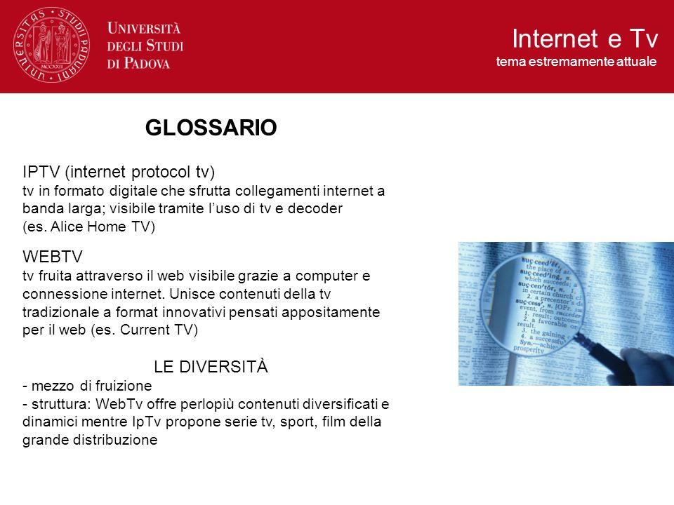 GLOSSARIO IPTV (internet protocol tv) tv in formato digitale che sfrutta collegamenti internet a banda larga; visibile tramite luso di tv e decoder (e