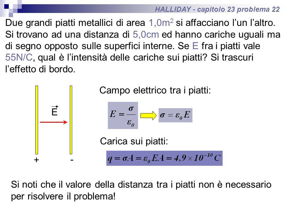 HALLIDAY - capitolo 23 problema 22 Due grandi piatti metallici di area 1,0m 2 si affacciano lun laltro. Si trovano ad una distanza di 5,0cm ed hanno c