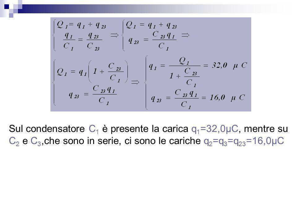 Sul condensatore C 1 è presente la carica q 1 =32,0μC, mentre su C 2 e C 3,che sono in serie, ci sono le cariche q 2 =q 3 =q 23 =16,0μC