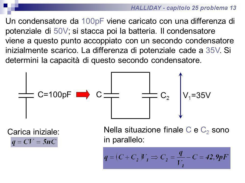 HALLIDAY - capitolo 25 problema 13 Un condensatore da 100pF viene caricato con una differenza di potenziale di 50V; si stacca poi la batteria. Il cond