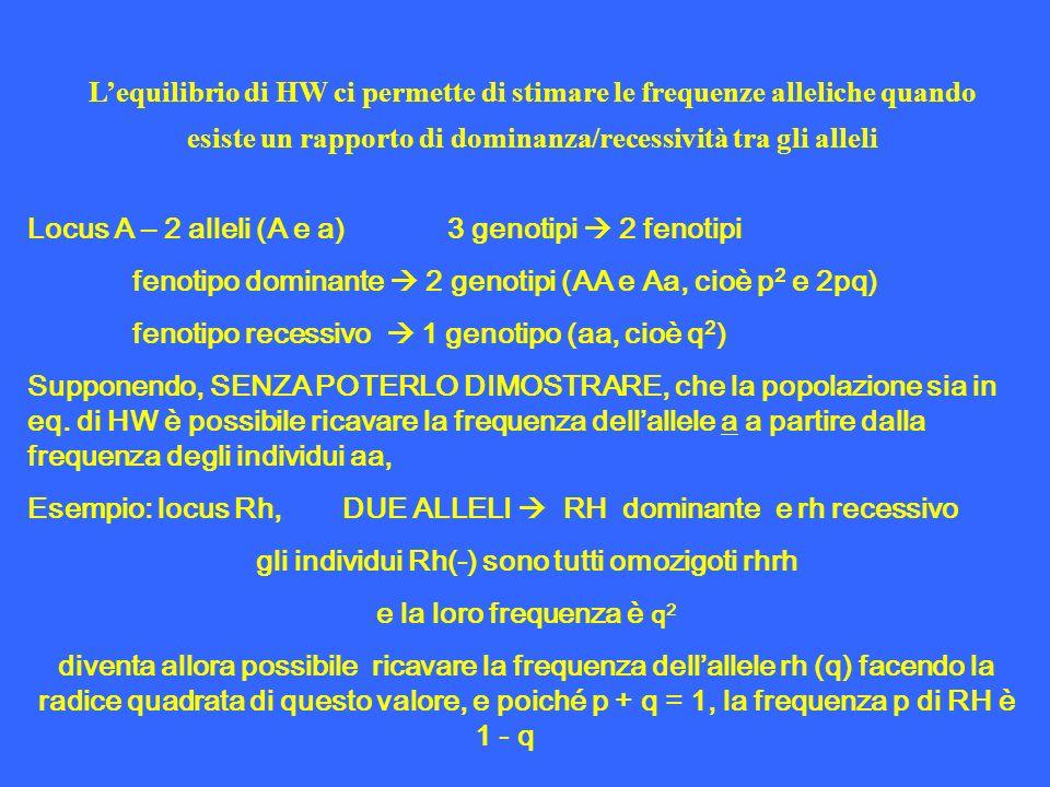 Lequilibrio di HW ci permette di stimare le frequenze alleliche quando esiste un rapporto di dominanza/recessività tra gli alleli Locus A – 2 alleli (