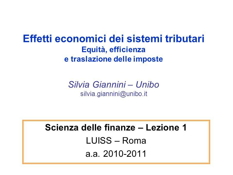 Effetti economici dei sistemi tributari Equità, efficienza e traslazione delle imposte Silvia Giannini – Unibo silvia.giannini@unibo.it Scienza delle