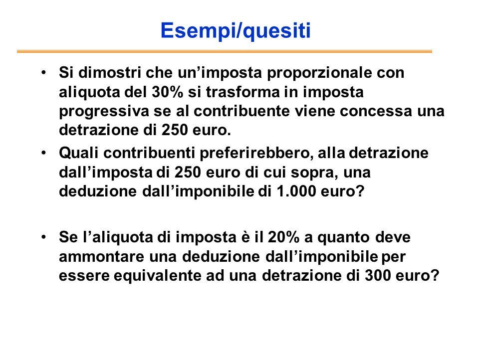 Esempi/quesiti Si dimostri che unimposta proporzionale con aliquota del 30% si trasforma in imposta progressiva se al contribuente viene concessa una