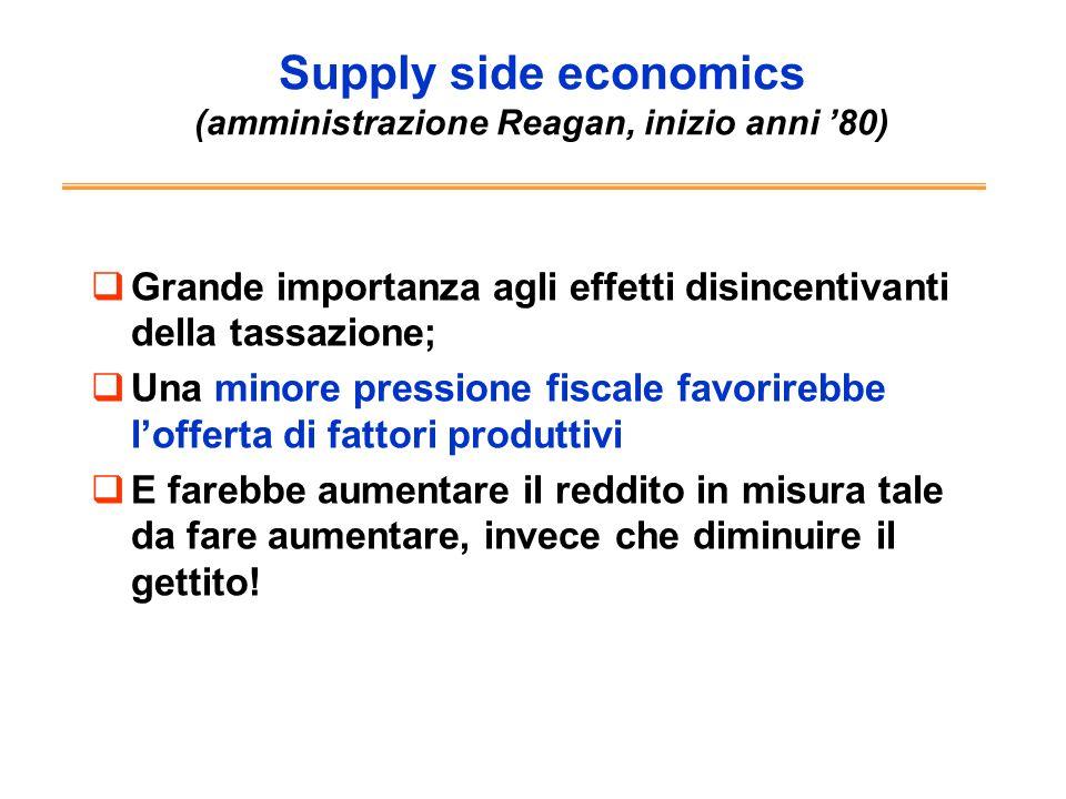 Supply side economics (amministrazione Reagan, inizio anni 80) Grande importanza agli effetti disincentivanti della tassazione; Una minore pressione f