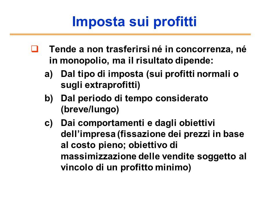 Imposta sui profitti Tende a non trasferirsi né in concorrenza, né in monopolio, ma il risultato dipende: a)Dal tipo di imposta (sui profitti normali