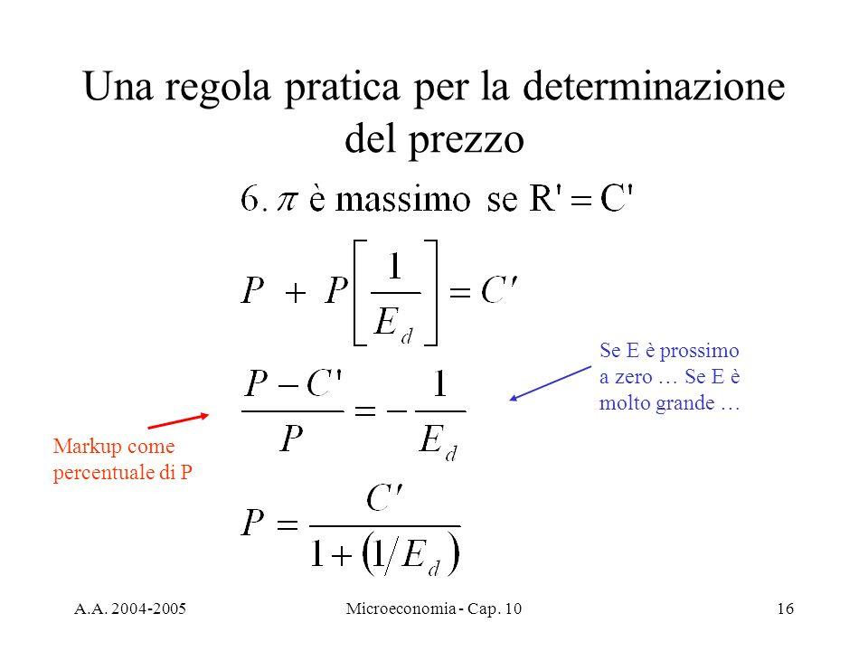 A.A. 2004-2005Microeconomia - Cap. 1016 Una regola pratica per la determinazione del prezzo Markup come percentuale di P Se E è prossimo a zero … Se E