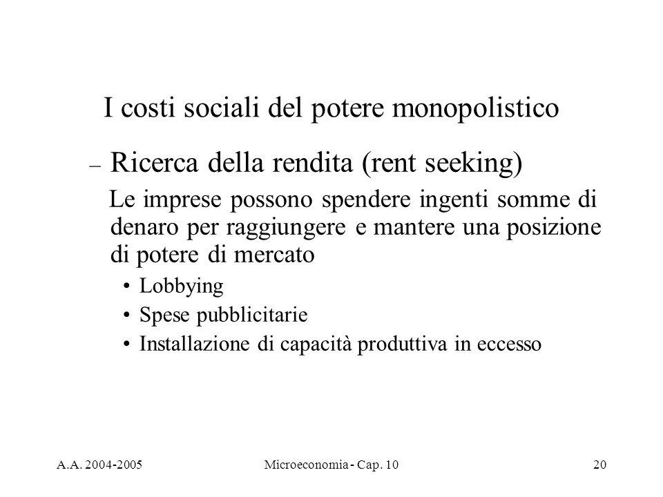 A.A. 2004-2005Microeconomia - Cap. 1020 – Ricerca della rendita (rent seeking) Le imprese possono spendere ingenti somme di denaro per raggiungere e m