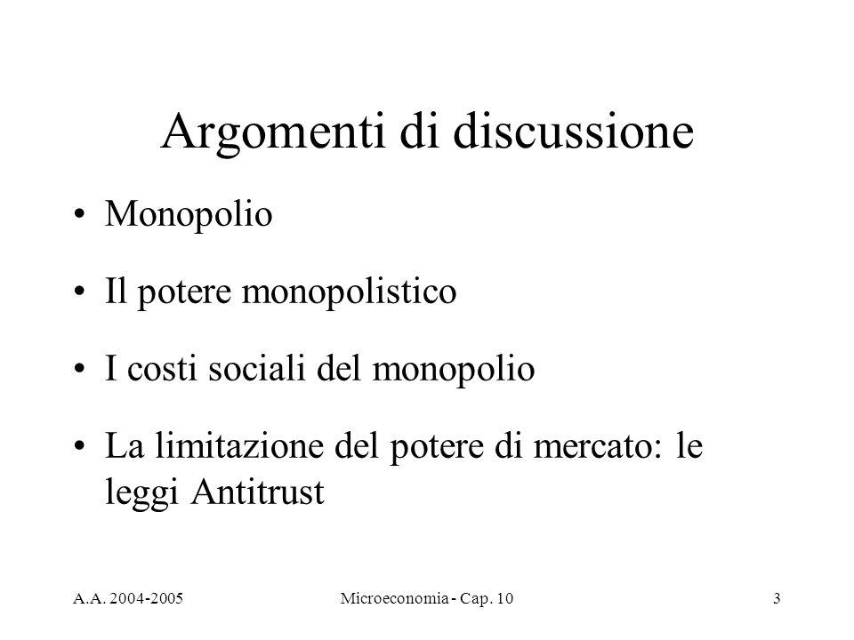 A.A. 2004-2005Microeconomia - Cap. 103 Argomenti di discussione Monopolio Il potere monopolistico I costi sociali del monopolio La limitazione del pot