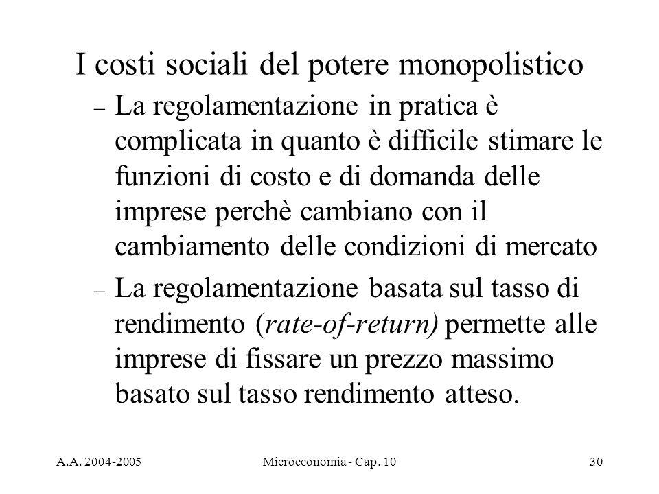 A.A. 2004-2005Microeconomia - Cap. 1030 – La regolamentazione in pratica è complicata in quanto è difficile stimare le funzioni di costo e di domanda