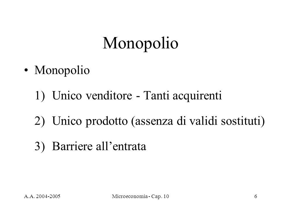 A.A. 2004-2005Microeconomia - Cap. 106 Monopolio 1) Unico venditore - Tanti acquirenti 2)Unico prodotto (assenza di validi sostituti) 3)Barriere allen
