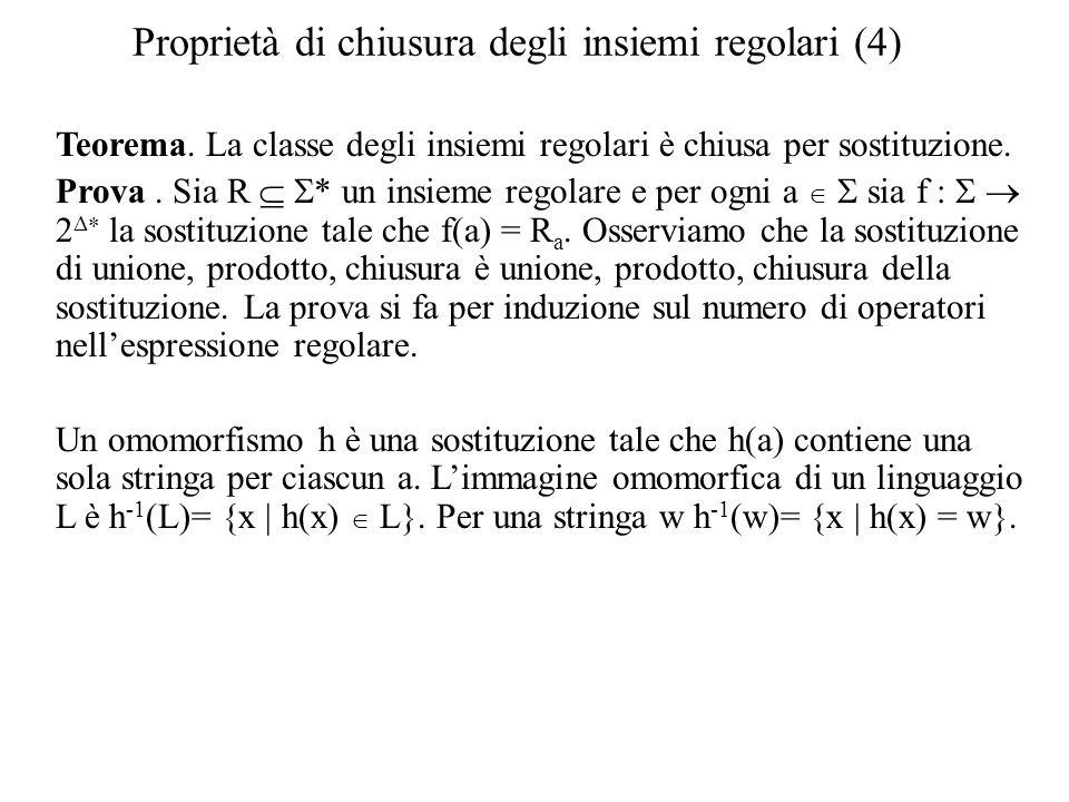 Proprietà di chiusura degli insiemi regolari (4) Teorema. La classe degli insiemi regolari è chiusa per sostituzione. Prova. Sia R * un insieme regola