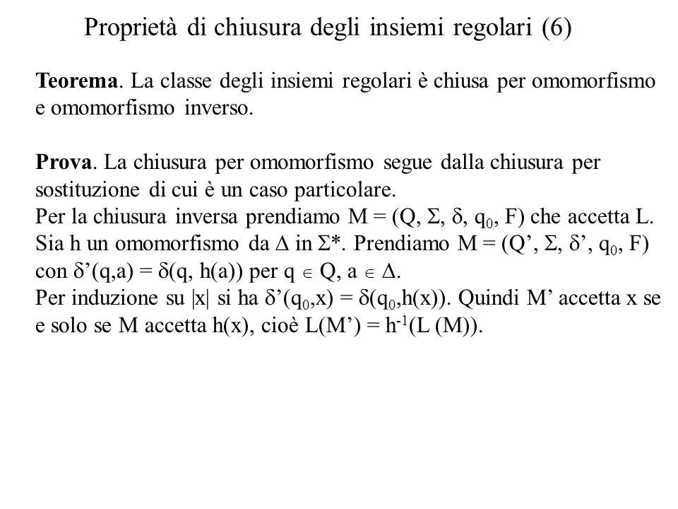 Proprietà di chiusura degli insiemi regolari (6) Teorema. La classe degli insiemi regolari è chiusa per omomorfismo e omomorfismo inverso. Prova. La c