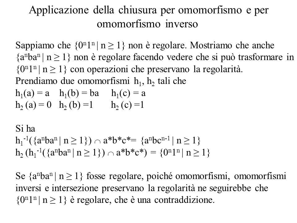 Applicazione della chiusura per omomorfismo e per omomorfismo inverso Sappiamo che {0 n 1 n   n 1} non è regolare. Mostriamo che anche {a n ba n   n 1