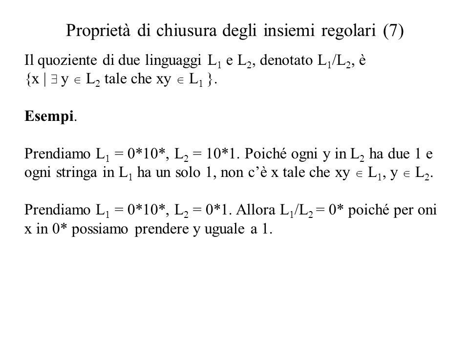 Proprietà di chiusura degli insiemi regolari (7) Il quoziente di due linguaggi L 1 e L 2, denotato L 1 /L 2, è {x   y L 2 tale che xy L 1 }. Esempi. P
