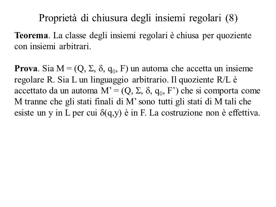Proprietà di chiusura degli insiemi regolari (8) Teorema. La classe degli insiemi regolari è chiusa per quoziente con insiemi arbitrari. Prova. Sia M