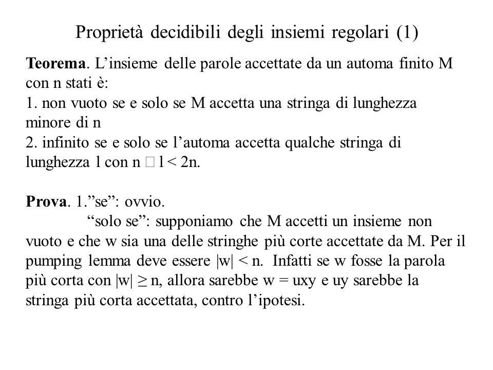 Proprietà decidibili degli insiemi regolari (1) Teorema. Linsieme delle parole accettate da un automa finito M con n stati è: 1. non vuoto se e solo s