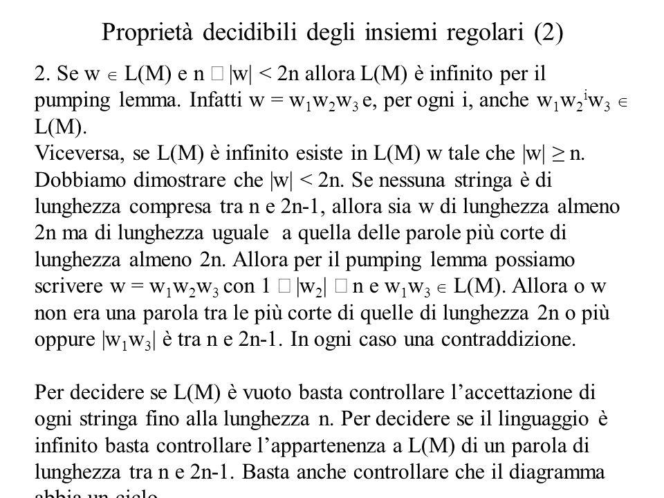 Proprietà decidibili degli insiemi regolari (2) 2. Se w L(M) e n  w  < 2n allora L(M) è infinito per il pumping lemma. Infatti w = w 1 w 2 w 3 e, per