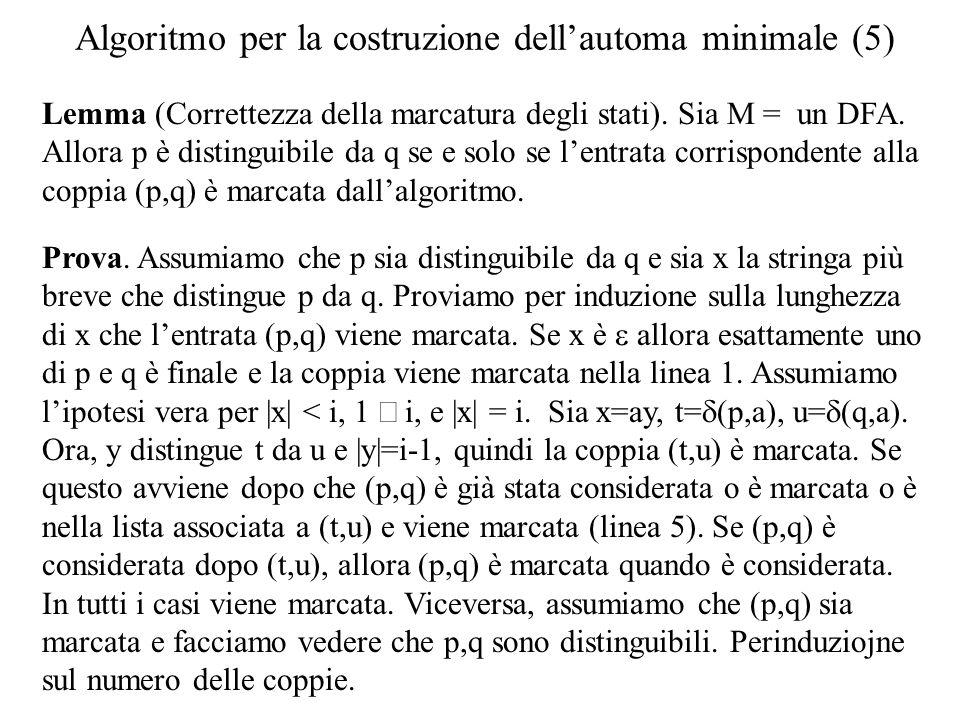 Algoritmo per la costruzione dellautoma minimale (5) Lemma (Correttezza della marcatura degli stati). Sia M = un DFA. Allora p è distinguibile da q se