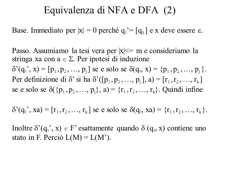 Equivalenza di NFA e DFA (2) Base. Immediato per  x  = 0 perché q 0 = [q 0 ] e x deve essere. Passo. Assumiamo la tesi vera per  x <= m e consideriamo