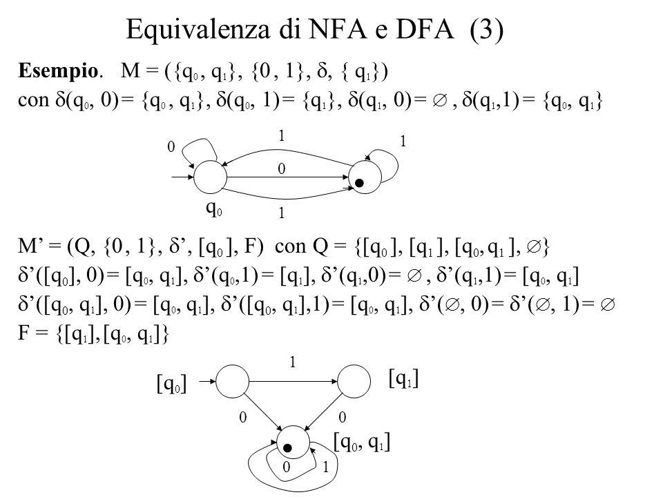 Equivalenza di NFA e DFA (3) Esempio. M = ({q 0, q 1 }, {0, 1},, { q 1 }) con (q 0, 0) = {q 0, q 1 }, (q 0, 1) = {q 1 }, (q 1, 0) =, (q 1,1) = {q 0, q