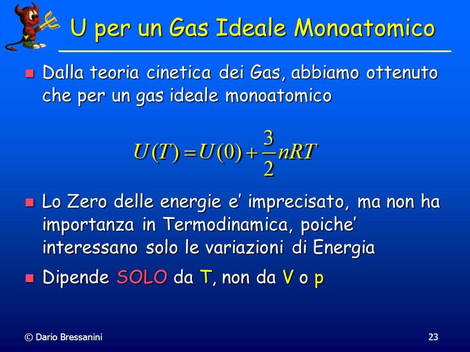 © Dario Bressanini23 U per un Gas Ideale Monoatomico Dalla teoria cinetica dei Gas, abbiamo ottenuto che per un gas ideale monoatomico Dalla teoria ci