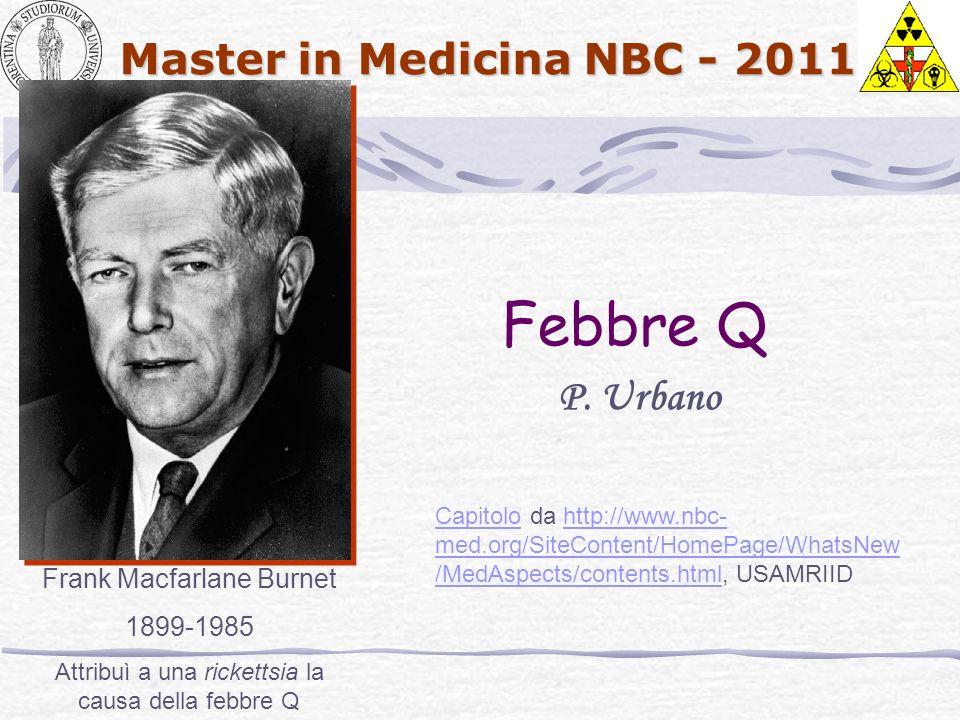 Master in Medicina NBC - 2011 Febbre Q P. Urbano Frank Macfarlane Burnet 1899-1985 Attribuì a una rickettsia la causa della febbre Q CapitoloCapitolo