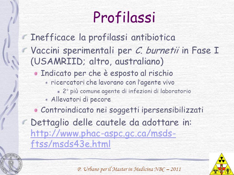 P. Urbano per il Master in Medicina NBC – 2011 Profilassi Inefficace la profilassi antibiotica Vaccini sperimentali per C. burnetii in Fase I (USAMRII