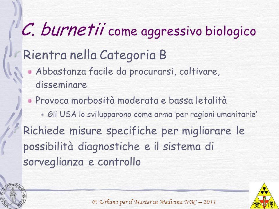 P. Urbano per il Master in Medicina NBC – 2011 C. burnetii come aggressivo biologico Rientra nella Categoria B Abbastanza facile da procurarsi, coltiv