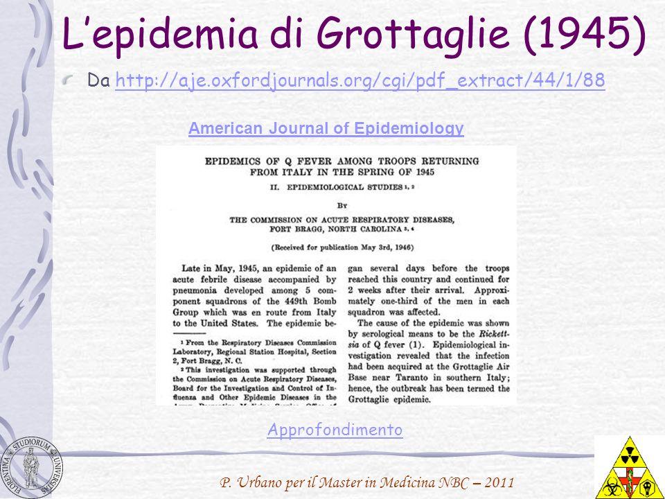 Lepidemia di Grottaglie (1945) Da http://aje.oxfordjournals.org/cgi/pdf_extract/44/1/88http://aje.oxfordjournals.org/cgi/pdf_extract/44/1/88 American