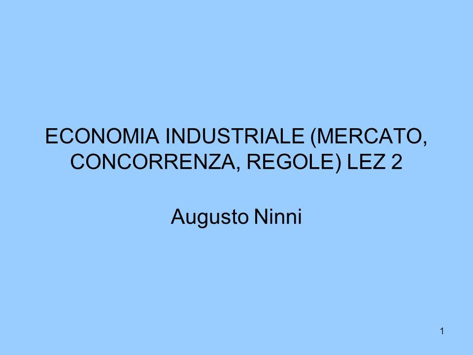 1 ECONOMIA INDUSTRIALE (MERCATO, CONCORRENZA, REGOLE) LEZ 2 Augusto Ninni