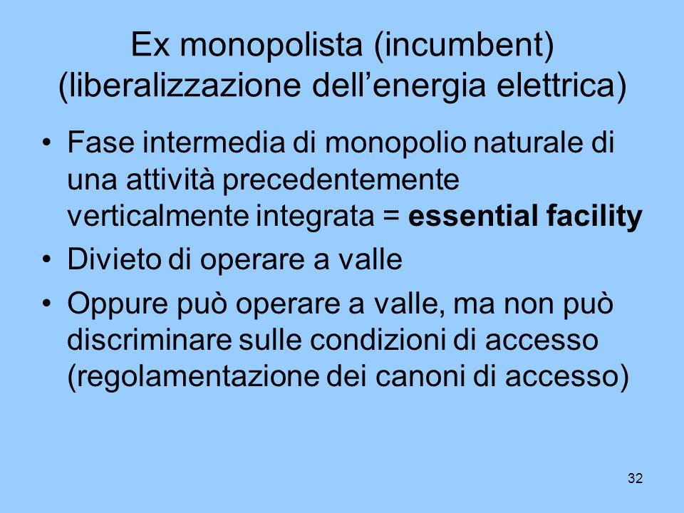 32 Ex monopolista (incumbent) (liberalizzazione dellenergia elettrica) Fase intermedia di monopolio naturale di una attività precedentemente verticalm