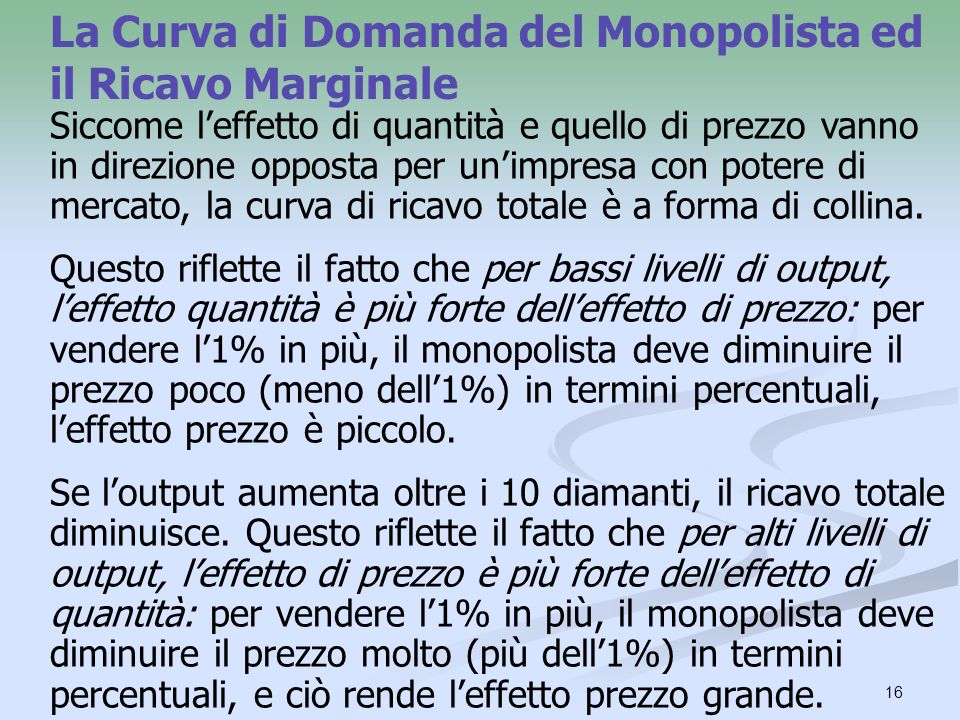 16 La Curva di Domanda del Monopolista ed il Ricavo Marginale Siccome leffetto di quantità e quello di prezzo vanno in direzione opposta per unimpresa