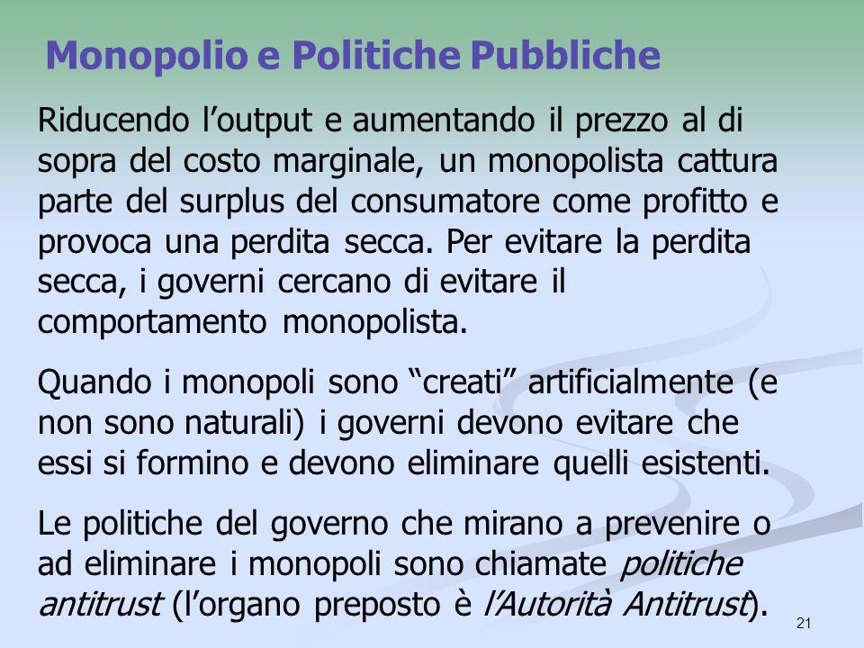 21 Monopolio e Politiche Pubbliche Riducendo loutput e aumentando il prezzo al di sopra del costo marginale, un monopolista cattura parte del surplus