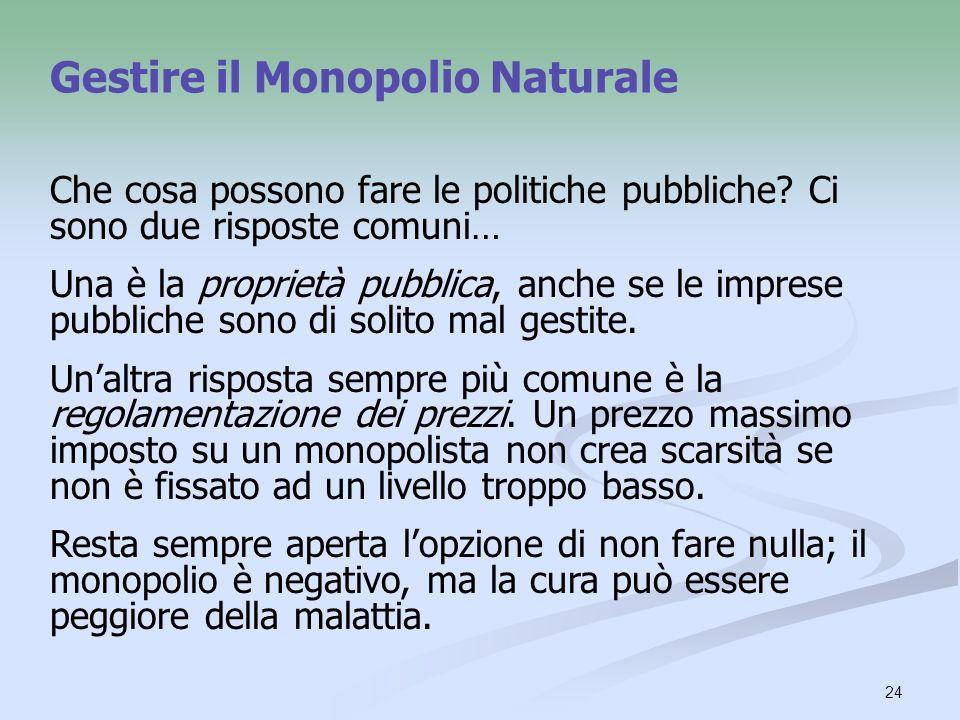 24 Gestire il Monopolio Naturale Che cosa possono fare le politiche pubbliche? Ci sono due risposte comuni… Una è la proprietà pubblica, anche se le i
