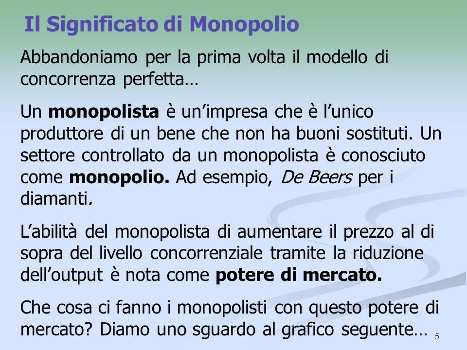 5 Il Significato di Monopolio Abbandoniamo per la prima volta il modello di concorrenza perfetta… Un monopolista è unimpresa che è lunico produttore d