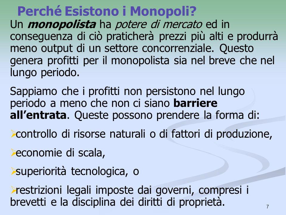 7 Perché Esistono i Monopoli? Un monopolista ha potere di mercato ed in conseguenza di ciò praticherà prezzi più alti e produrrà meno output di un set