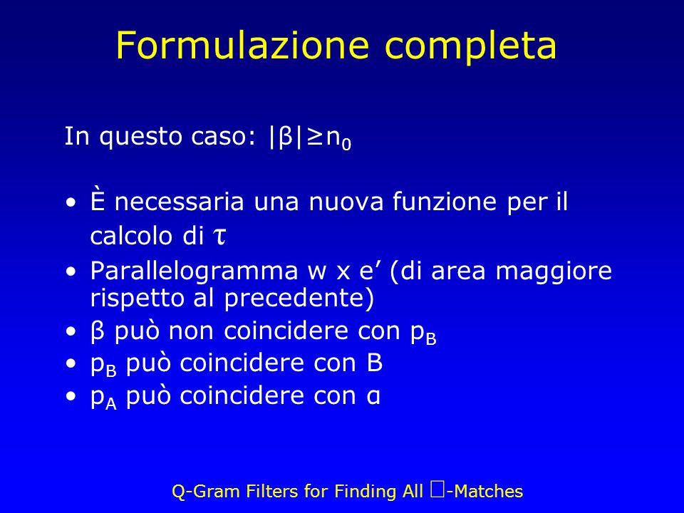 Q-Gram Filters for Finding All -Matches Formulazione completa In questo caso: |β|n 0 È necessaria una nuova funzione per il calcolo di τ Parallelogramma w x e (di area maggiore rispetto al precedente) β può non coincidere con p B p B può coincidere con B p A può coincidere con α