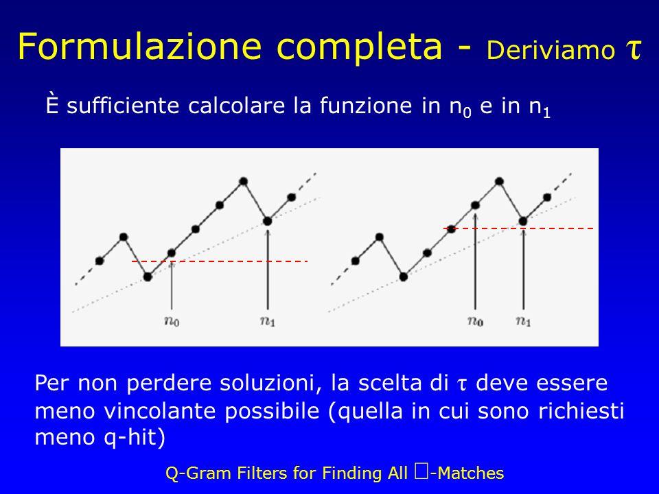 Q-Gram Filters for Finding All -Matches Formulazione completa - Deriviamo τ Per non perdere soluzioni, la scelta di τ deve essere meno vincolante possibile (quella in cui sono richiesti meno q-hit) È sufficiente calcolare la funzione in n 0 e in n 1